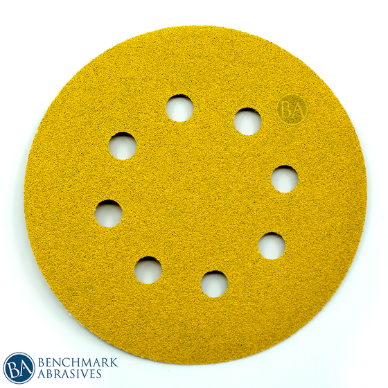 "5"" Gold A/O 8 Hole Hook & Loop Discs - 50 Pack"