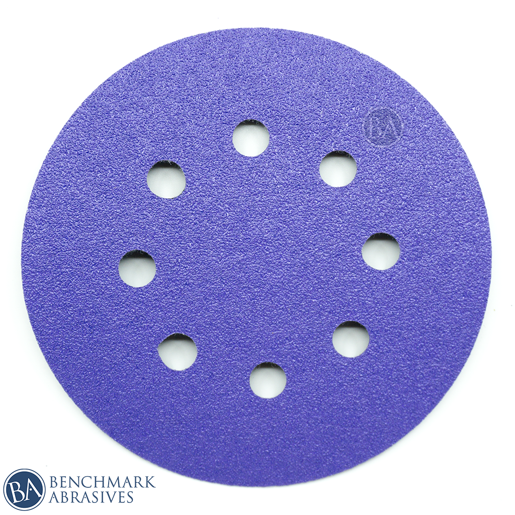 "5"" Premium Purple Film Backed 8 Hole Hook & Loop Discs - 50 Pack"