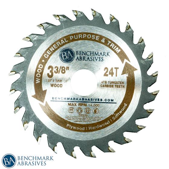 "3-3/8"" 24 Tooth TCT Saw Blade for General Purpose Cutting & Trimming"