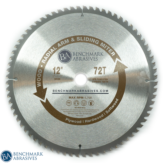 "12"" 72 Tooth TCT Saw Blade for Finishing - Sliding Miter & Radial Saw"