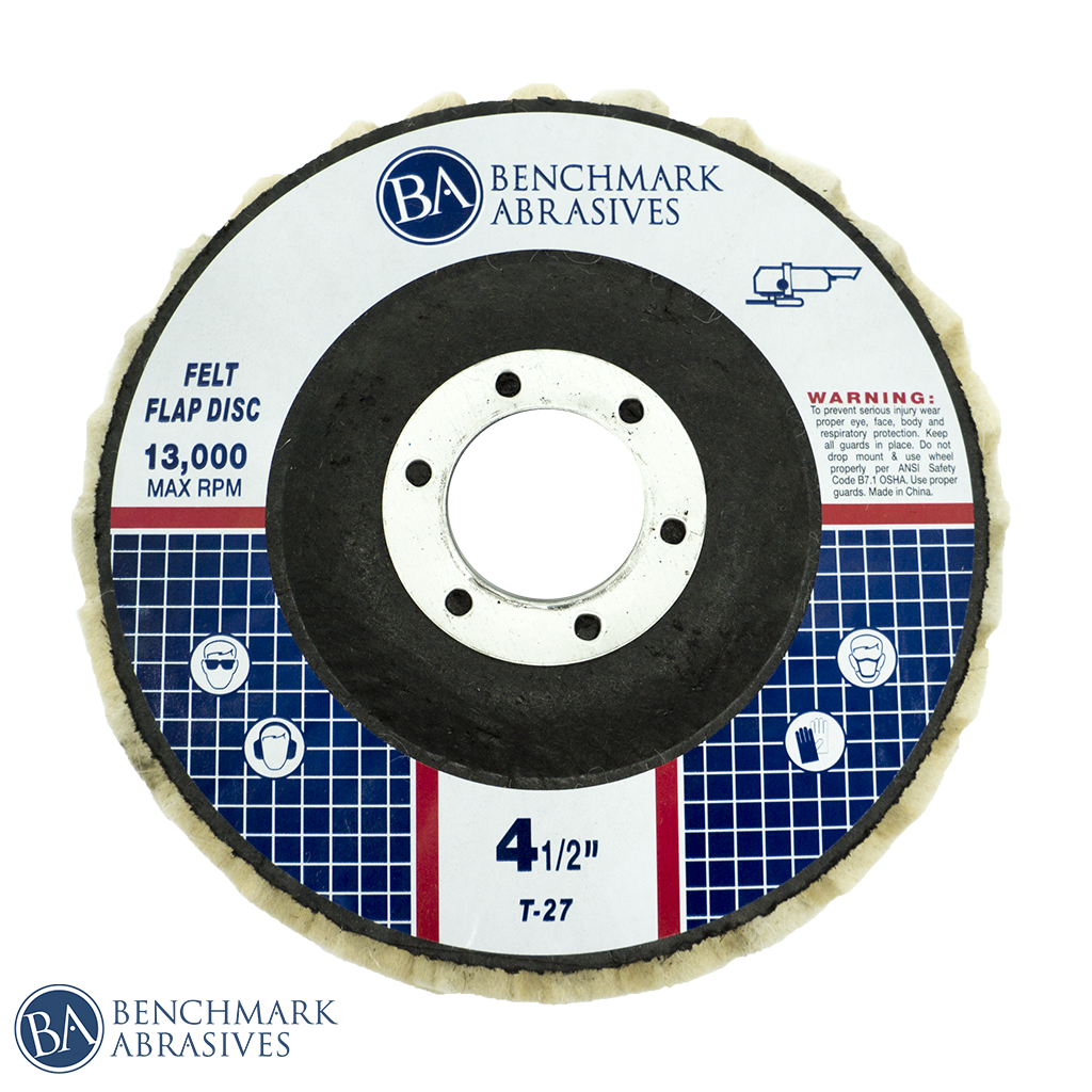 "4-1/2"" x 7/8"" T27 Felt Polishing Flap Disc - 1 Piece"