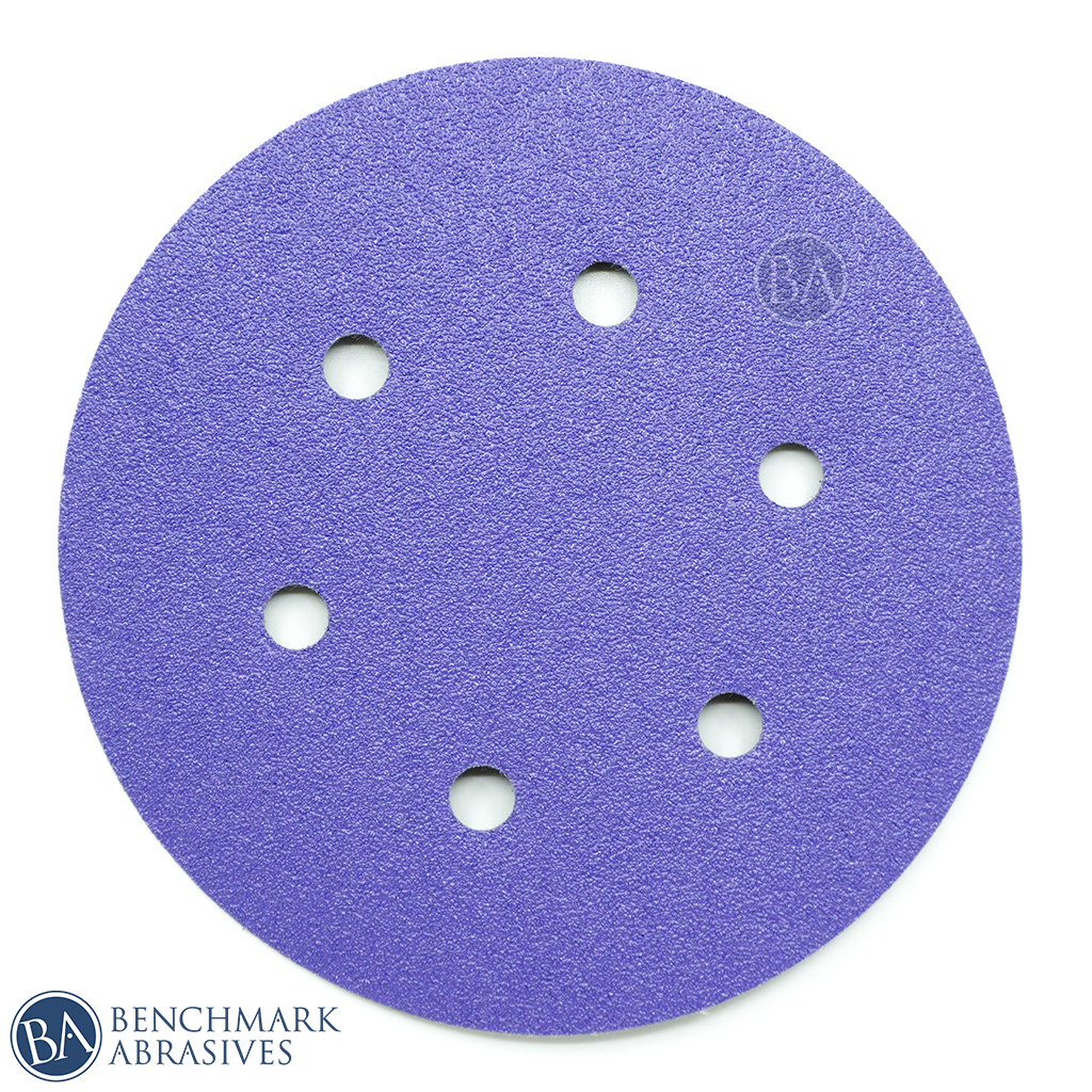 "6"" Premium Purple Film Backed 6 Hole Hook & Loop Discs"