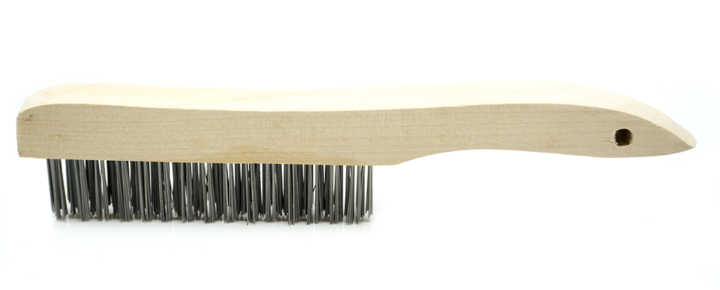 Wire Scratch Brush with Wood Shoe Handle - Carbon Steel