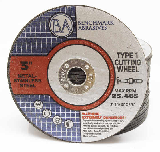 "3"" x 1/16"" x 3/8"" T1 Premium Thin Cut-off Wheel - 25 pack"