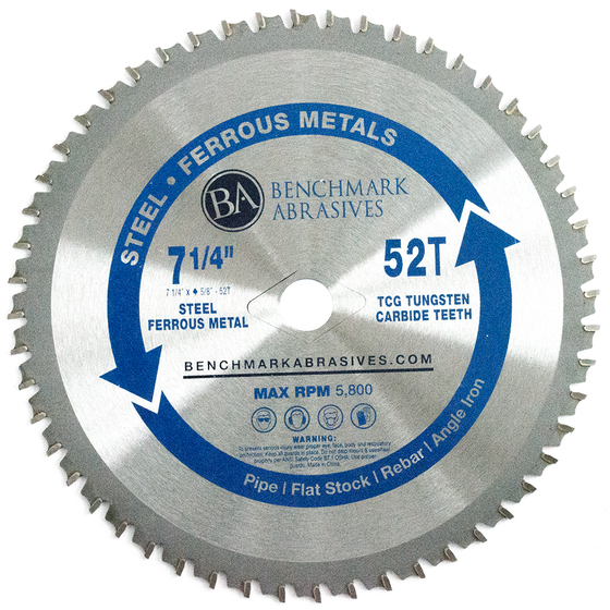 "7-1/4"" 52 Tooth TCT Saw Blade for Steel/Metal"