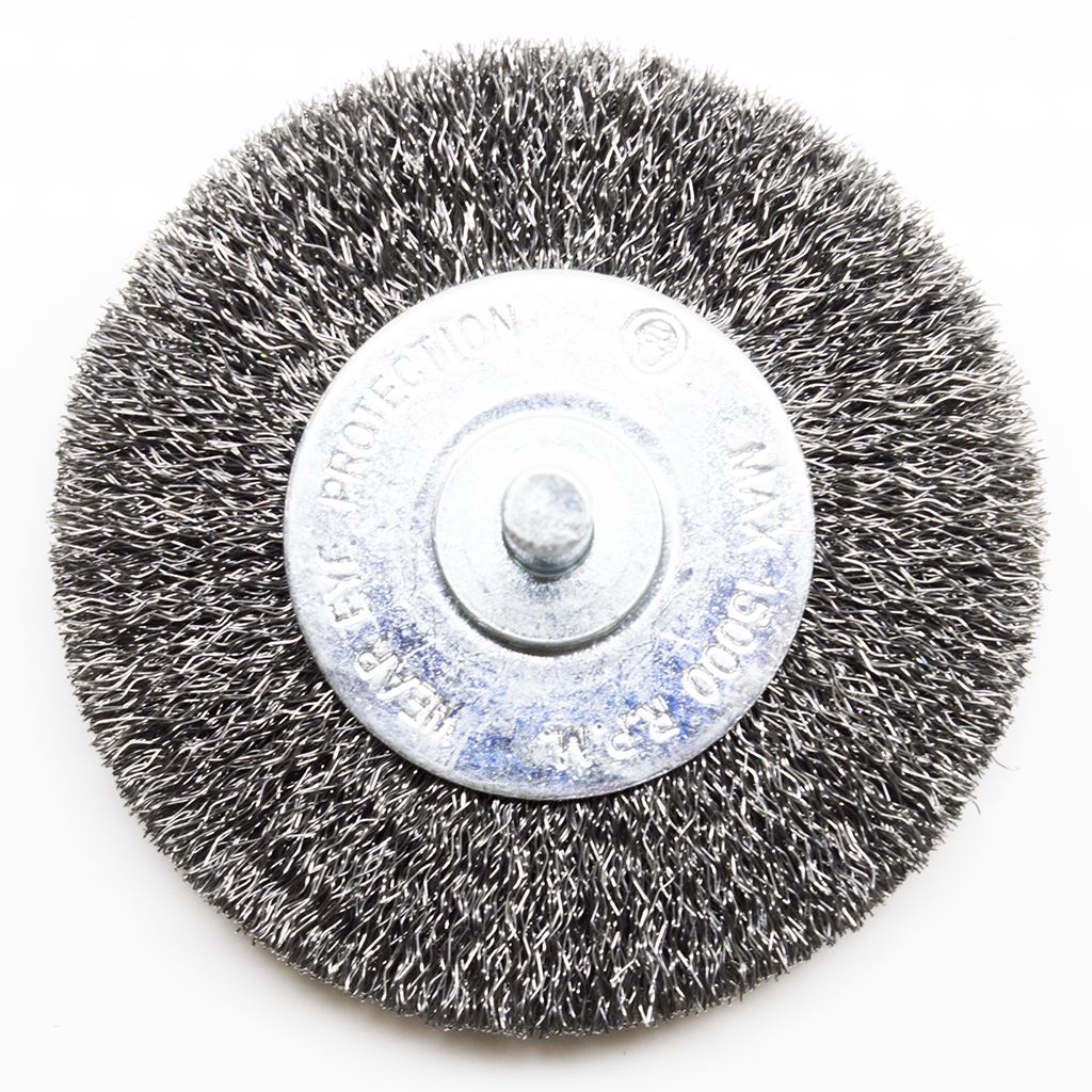 "3"" Mounted Crimped Wire Wheel - Carbon Steel Wire"