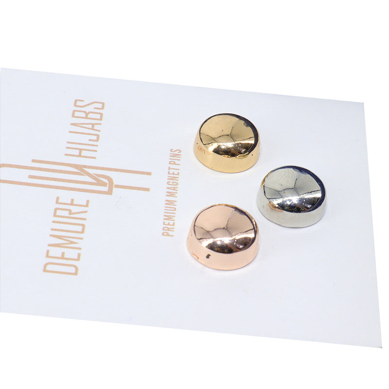 HIJAB MAGNET PINS TRI COLOR METALLIC FINISH 3 SETS
