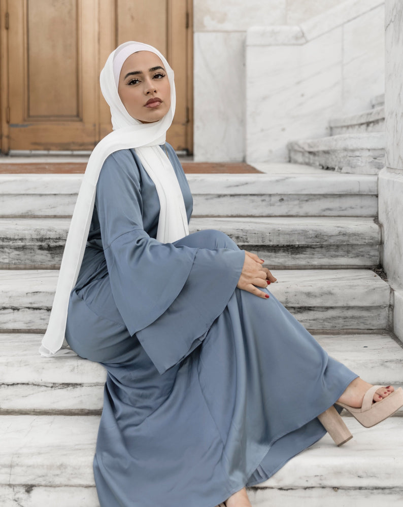 YASMEEN SATIN DRESS DENIM