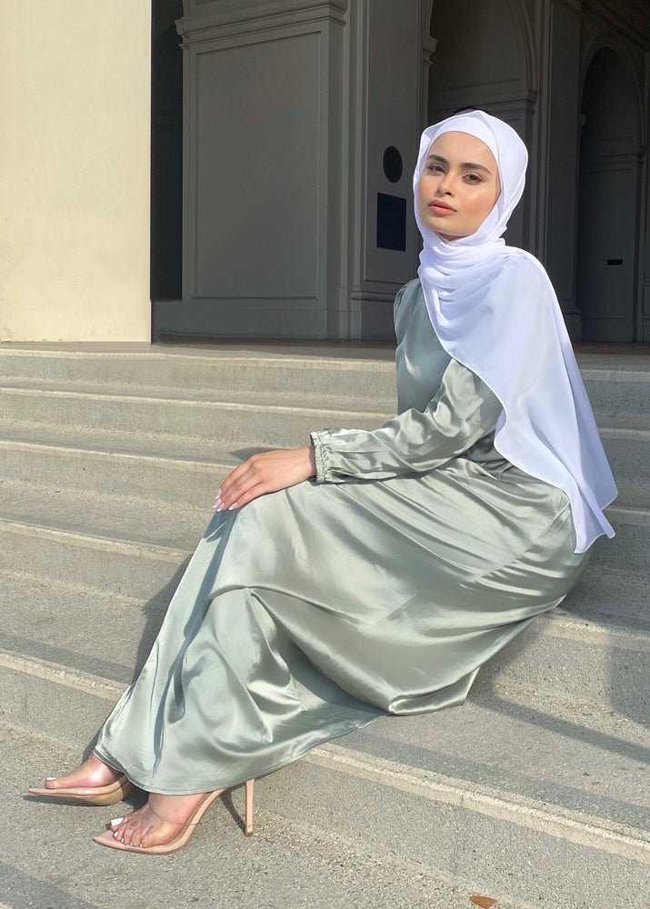AYA SATIN DRESS SAGE