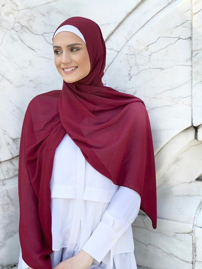 georgette chiffon hijab ruby red