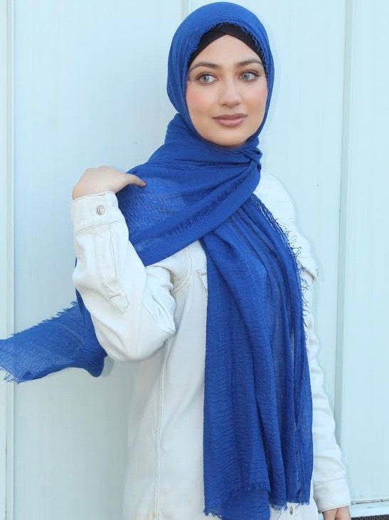 premium cotton hijab royal blue
