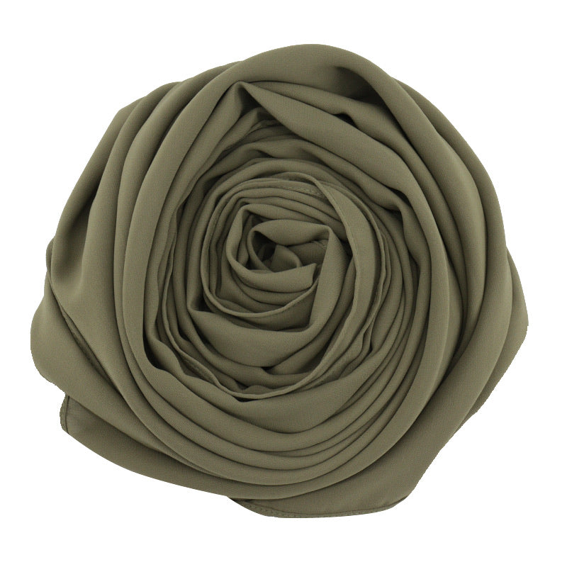 luxury chiffon hijab opaque non see through army green olive