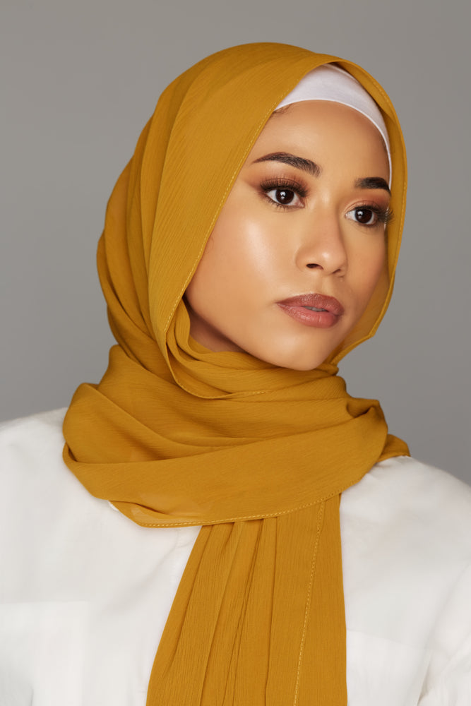 georgette chiffon hijab mustard golden color