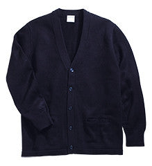 ACE - Boys/Youth V-Neck Cardigan Sweater w/Pockets with Embroidered School Logo