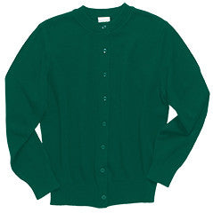 "Dark Green ""LORIEN WOOD"" Monogrammed Crew Neck Cardigan Sweater"