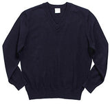 "Navy V-Neck ""LORIEN WOOD"" Monogrammed Pullover Sweater"