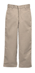 1240HK, HUSKY SIZES - Khaki Wrinkle Free Super Soft Plain Front Twill Pants, Relaxed Fit (Male)