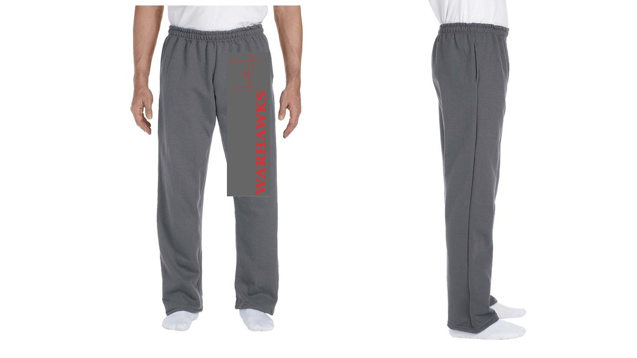 12300 Charcoal Gildan DryBlend 9.3 Ounce Adult Open Bottom Pocketed Sweatpants