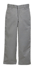 "HUSKY SIZES - Grey ""OLGC"" Monogrammed Plain Front Twill Pants, Relaxed Fit (Male)"