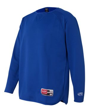 Dodgers OPTIONAL Custom Embroidered Rawlings Long Sleeve Flatback Mesh Fleece Pullover - Royal Adult and Youth Sizes