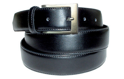 "1 ¼"" LEATHER BELT WITH BRUSHED SILVER BUCKLE"
