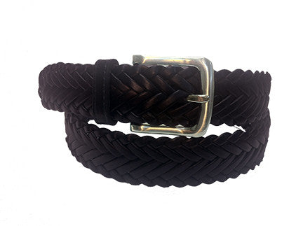 "1 ¼"" BRAIDED BELT WITH BRUSHED SILVER BUCKLE"