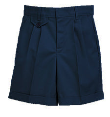 4026LG Navy Regular Elastic Back Pleated Short