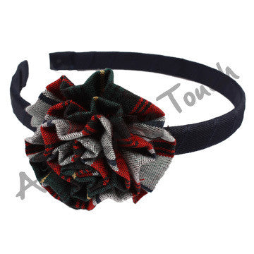 Plaid 41 Headband w/ Rosette Bow