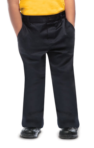 Navy Preschool Unisex Flat Front Pull-On Pant