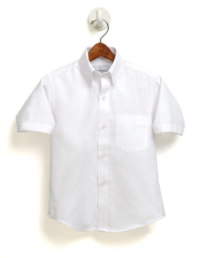 S/S Oxford Male Sizes 8-20 White Button Down Wrinkle Free