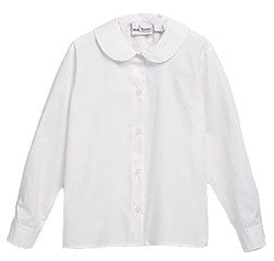 L/S Girls White Peter Pan Blouse