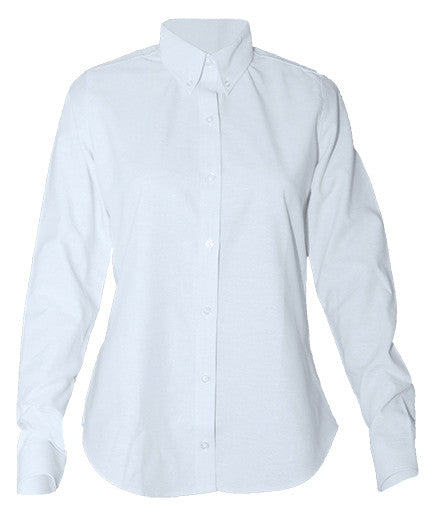 L/S Female Oxford Sizes 7-16 White Button Down Fitted