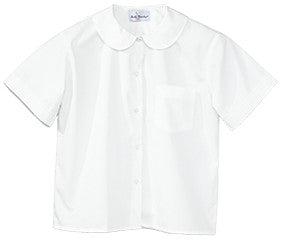 ACE - White S/S Peter Pan Blouse with Pocket - Size 7-16