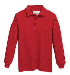 ACE - L/S Pique Knit Polo - Unisex, Banded Cuffs with Embroidered School Logo