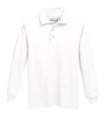 "STS Unisex White L/S Interlock ""STS"" Oval Embroidered Polo with Ribbed Cuff"