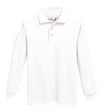 "5639 White ""OLGC"" Long Sleeve Pique Knit Polo - Unisex, Banded Cuffs"