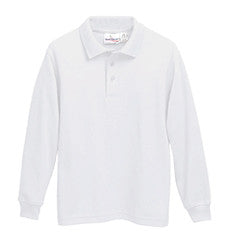 "All Sizes L/S Polo ""LORIEN WOOD"" Monogrammed Interlock Knit - White or Navy Unisex, Banded Cuffs - Form 4"