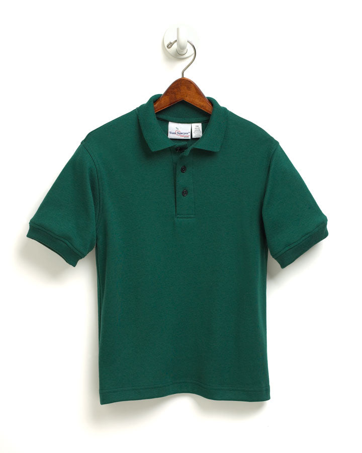 "St. Luke Unisex Green S/S Interlock ""Logo"" Embroidered Polo in Gold with Ribbed Cuff"