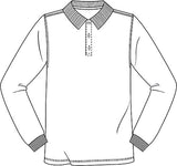 "58732 White ""OLGC"" Youth Unisex Long Sleeve Interlock Polo"