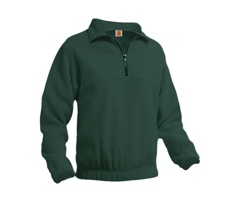 "Dark Green ""LORIEN WOOD"" Monogrammed Quarter Zip Pullover Fleece"