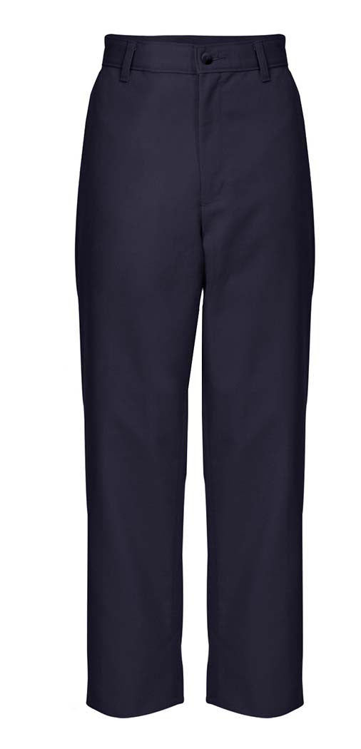 "HUSKY SIZES - Navy ""OLGC"" Monogrammed Plain Front Twill Pants, Relaxed Fit (Male)"