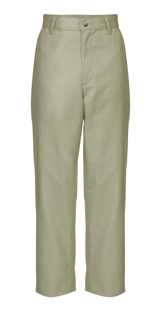 Husky Sizes Khaki Plain Front Twill Pants