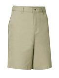 Regular Sizes Khaki Plain Front Twill Shorts - Relaxed Fit