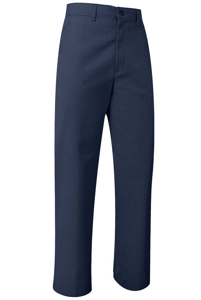 "HALF SIZES - Navy ""OLGC"" Monogrammed Plain Front Twill Pants, Relaxed Fit (Female)"
