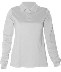"STS Feminine Fit White L/S Interlock ""STS"" Oval Embroiderd Polo with Ribbed Cuff"