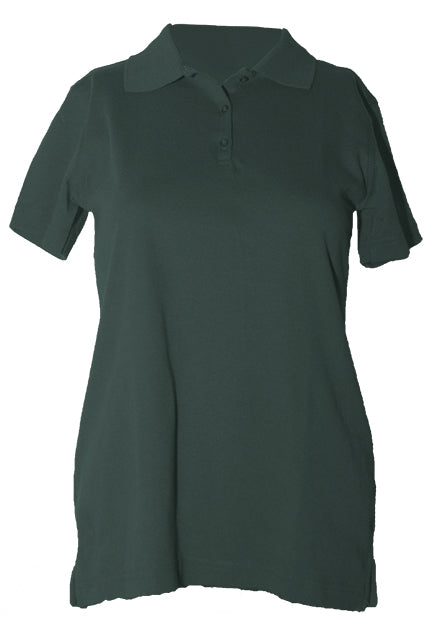 "St. Luke Feminie Fit Green S/S Interlock, ""Logo"" Embroidered Polo in Gold with Ribbed Cuff"