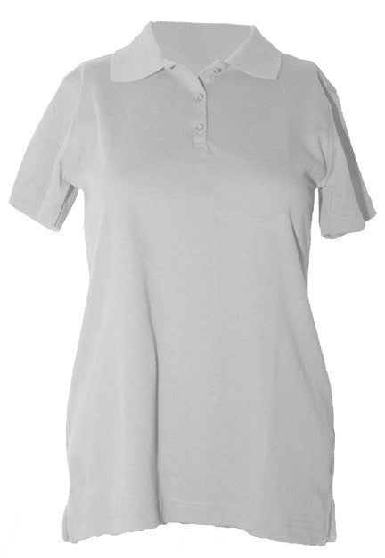 "St. Luke Feminie Fit White S/S Interlock, ""Logo"" Embroidered Polo with Ribbed Cuff"