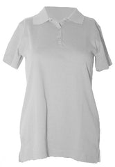 "S/S Interlock Feminine Fit White ""OLGC"" Monogrammed Polo with Ribbed Cuff"