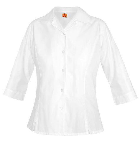 White 3/4 Sleeve Princess Poplin Blouse