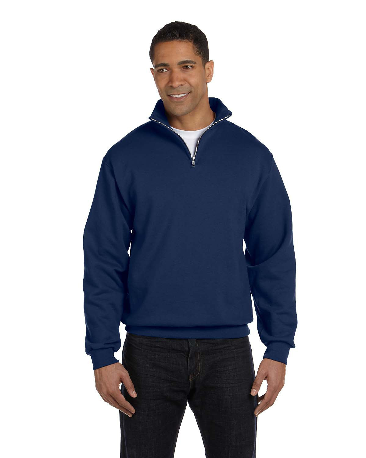 LW SWAG Navy Jerzees Adult 8 oz. NuBlend® Quarter-Zip Cadet Collar Sweatshirt